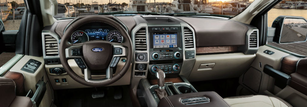 The Ford F-150 interior looks good.