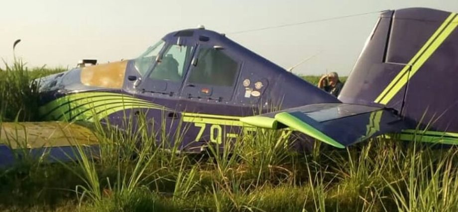 Small plane crash lands in Illovo sugarcane fields.