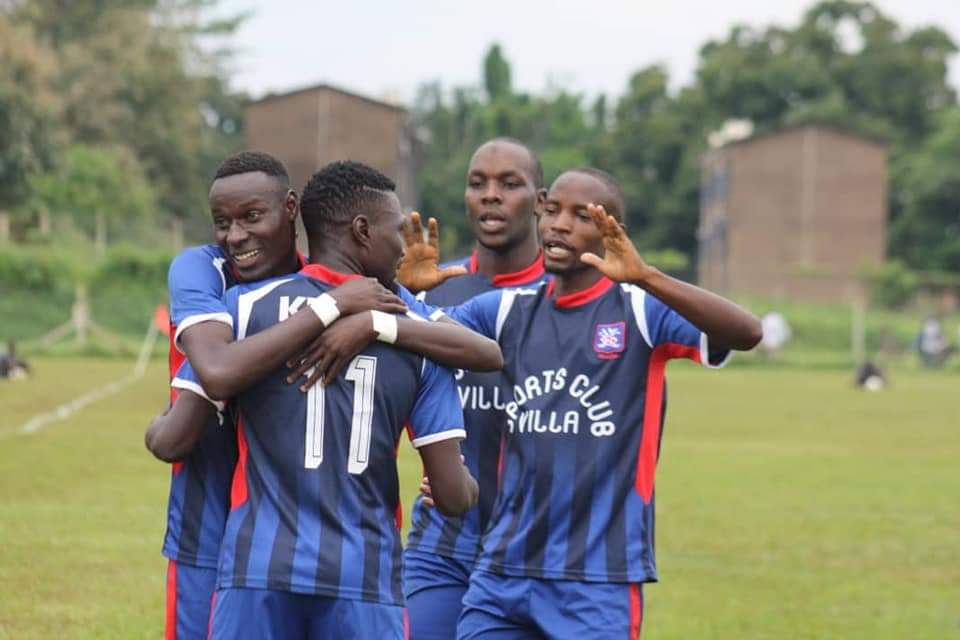 SC Villa's current top scorer Ambrose Kirya celebrating with team mates.