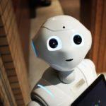 High angle photo of a robot.