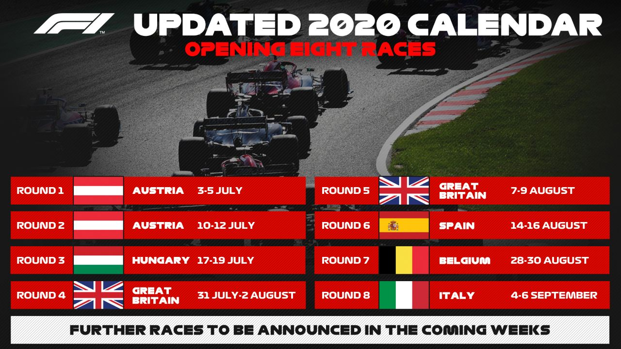 F1 Announces the First 8 Races for the 2020 Calendar - Newslibre